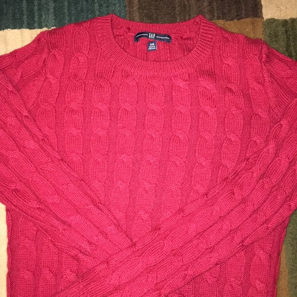 c84a97d04d GAP Sweaters | Red Cable Knit Sweater | Poshmark